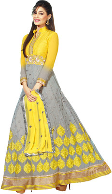 Fashion On Sky Georgette Self Design Semi-stitched Salwar Suit Dupatta Material(Unstitched) image