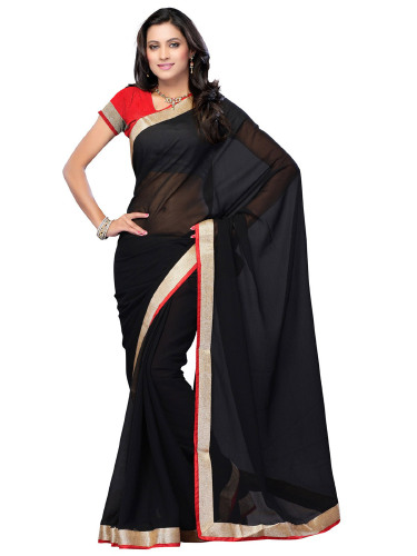 Chiffon Georgette Plain Saree image
