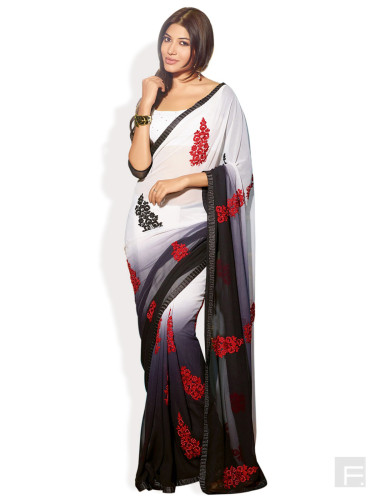 Embroidered Ombre Dyed Saree image