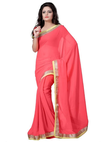 Peachy Perfect Chiffon Saree