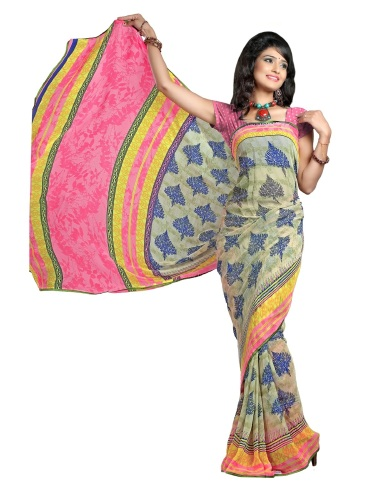 Trendy Contemporary Printed Chiffon Saree
