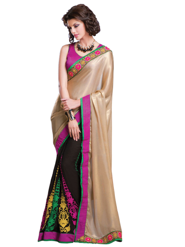 Cotton And Georgette Embroidered Saree image