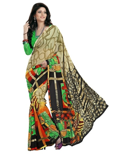 Beautiful Printed Faux Georgette Saree image