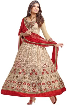 Vibes Brasso Self Design Semi-stitched Salwar Suit Dupatta Material(Unstitched)